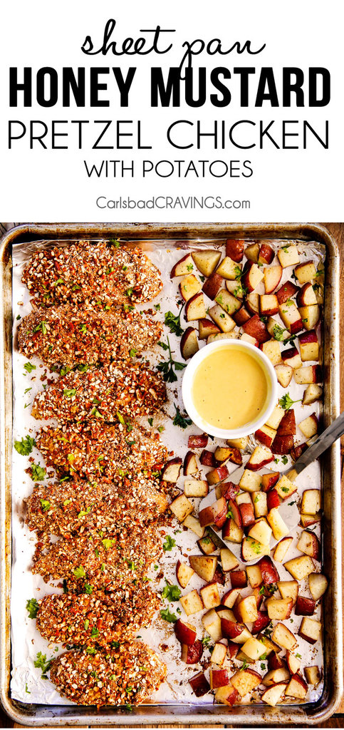 Sheet Pan Honey Mustard Pretzel Chicken and Potatoes from Carlsbad Cravings