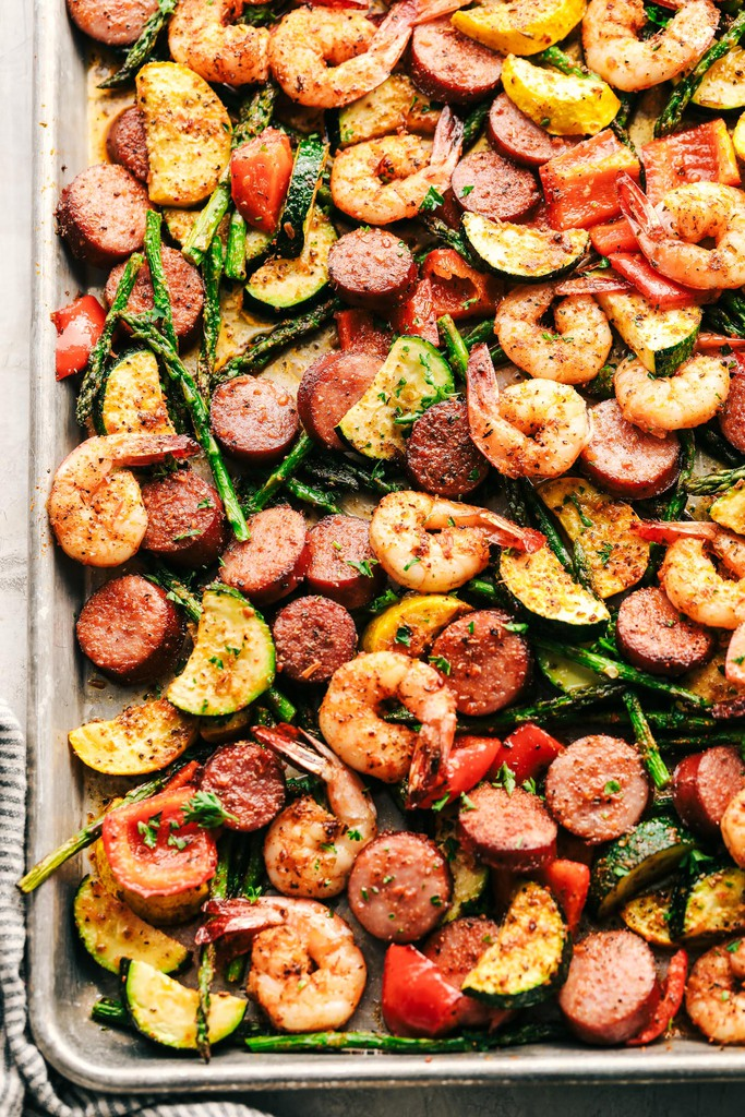 Cajun Shrimp and Sausage Vegetable Sheet Pan from The Recipe Critic
