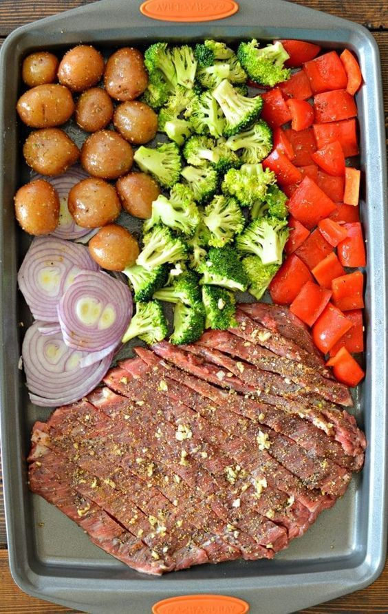 Sheet Pan Flank Steak with Garlic Roasted Potatoes from My Latina Table