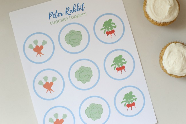 Carrot Cake Cupcakes + FREE Peter Rabbit Cupcake Toppers
