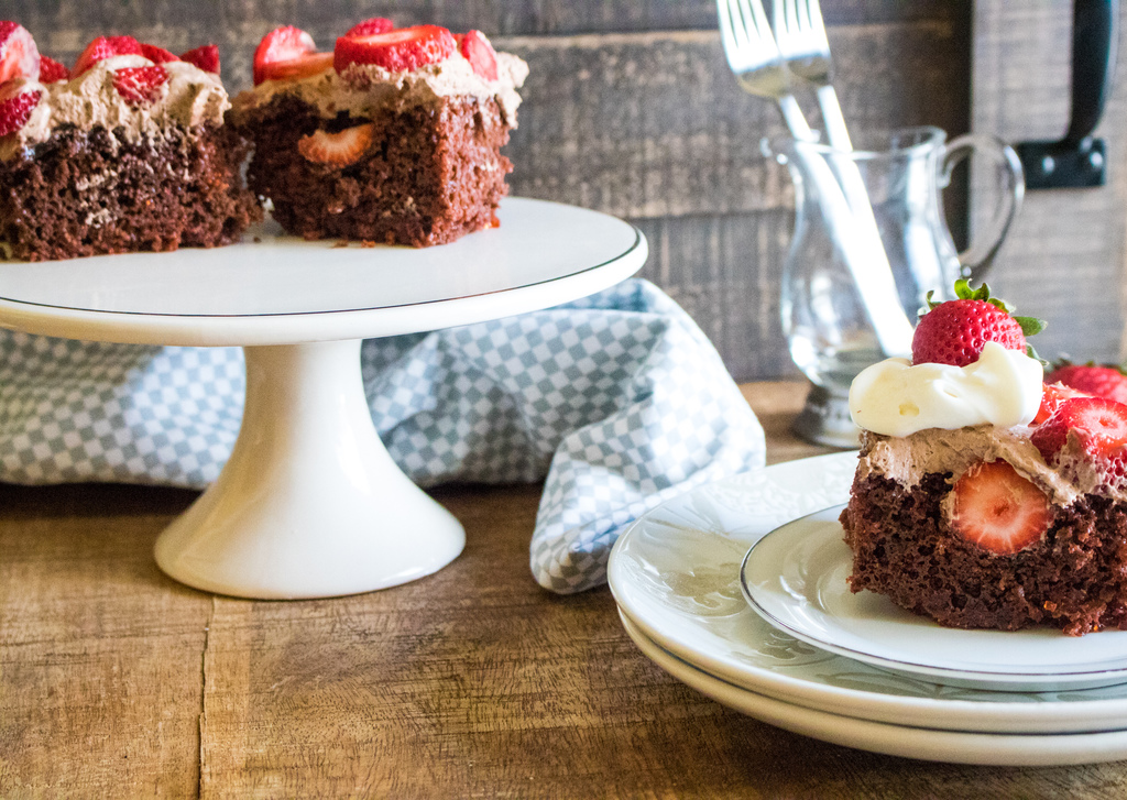 Chocolate Strawberry Poke Cake