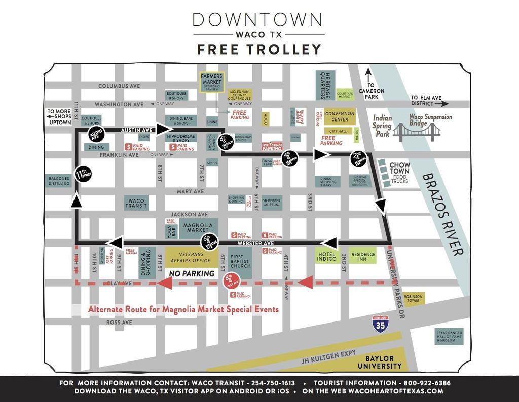 Trolley Map Waco, TX