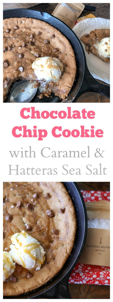 Skillet Chocolate Chip cookie with caramel and sea salt