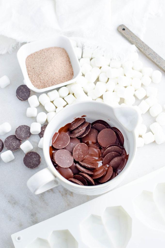 heart latte hot chocolate bombs