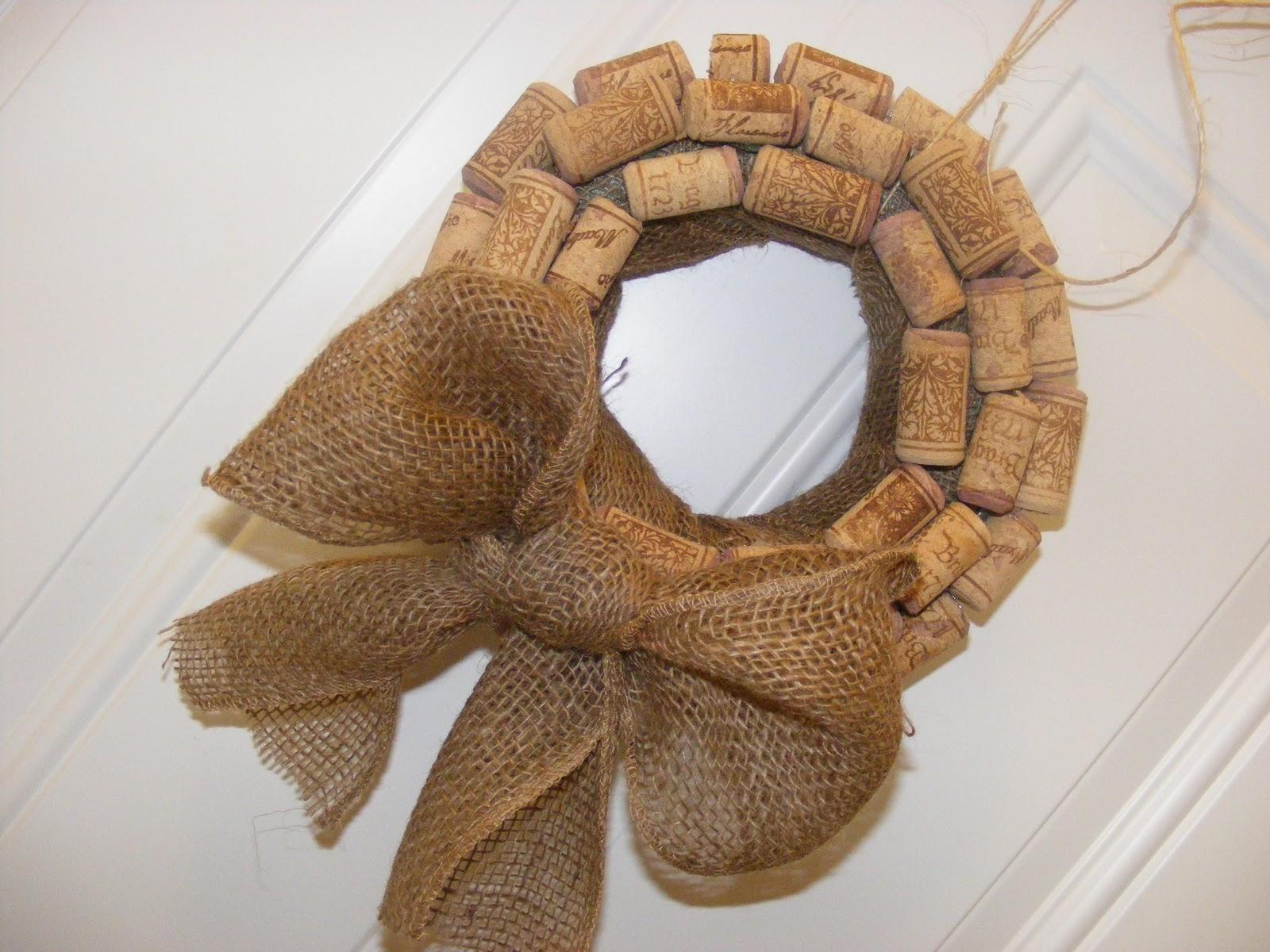 Wine Cork And Burlap Ribbon Wreath Crafts Pinterest