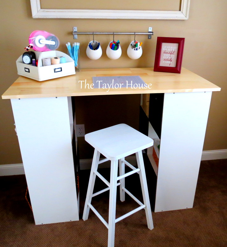 Diy inexpensive craft table with storage the taylor house - Craft desk with storage ...