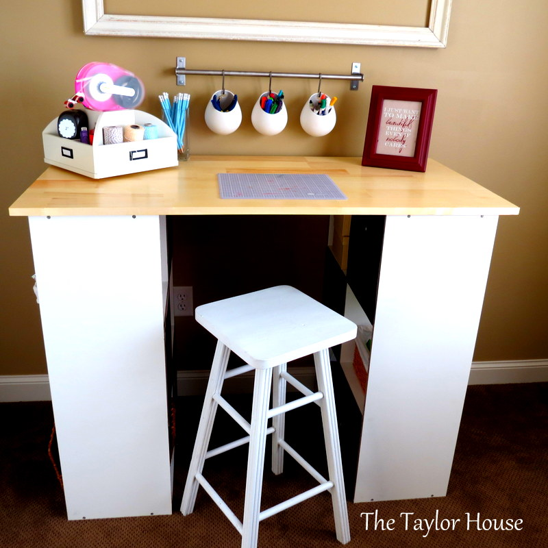 Diy inexpensive craft table with storage the taylor house for Small craft table with storage