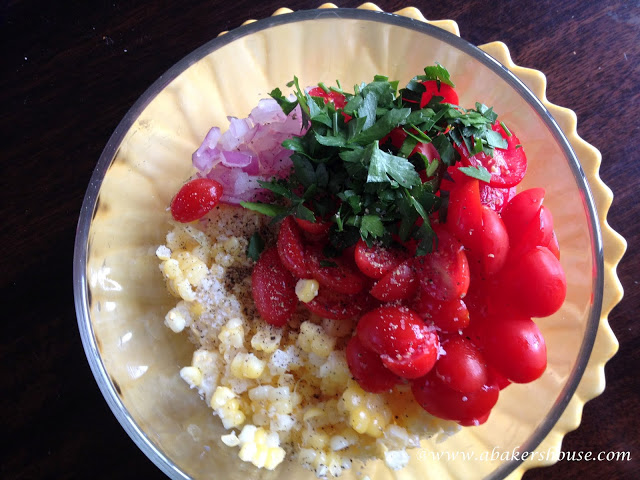 Corn and Tomato Salad, Summer Salad, Refreshing salad, uses for tomato